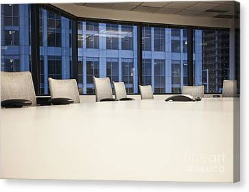 Chairs And Table In A Conference Room Canvas Print