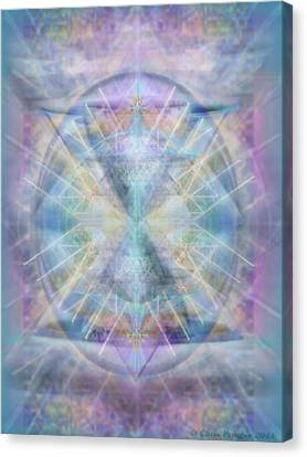 Chalice Of Vorticspheres Of Color Shining Forth Over Tapestry Canvas Print by Christopher Pringer