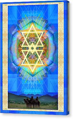 Chalice Synthesis Star Over Three Kings Holiday Card  Vi Lt Canvas Print by Christopher Pringer