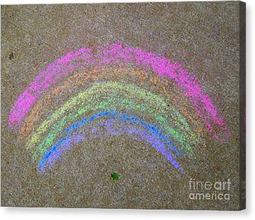 Canvas Print featuring the photograph Chalk Rainbow On Sidewalk by Renee Trenholm