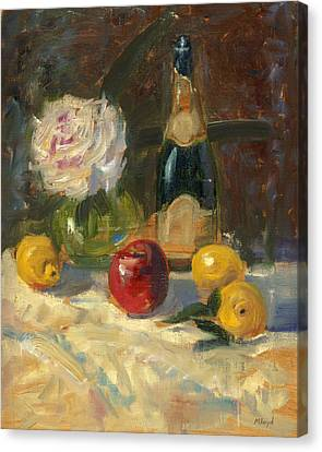 Canvas Print featuring the painting Champagne And Roses by Marlyn Boyd