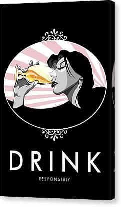 Champagne Drinking Woman Propaganda Style Canvas Print