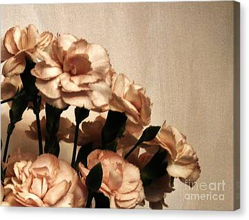 Champaign And Flowers Canvas Print by Marsha Heiken