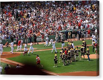 Champions Congratulating Champions Canvas Print by Greg DeBeck