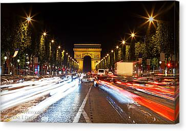 Champs-elysees And The Arc De Triomphe Canvas Print by Anthony Festa