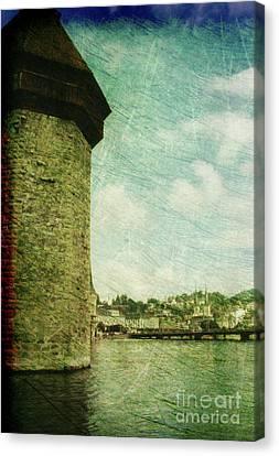 Chapel Bridge Tower In Lucerne Switzerland Canvas Print by Susanne Van Hulst
