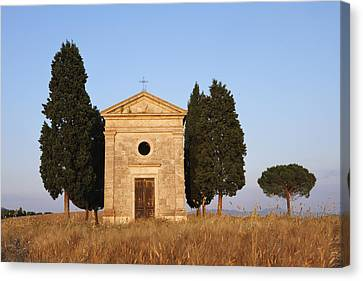 Chapel Of Vitaleta With Cypress Trees Near Sunset Canvas Print by Martin Ruegner