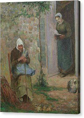 Charity Canvas Print by Camille Pissarro
