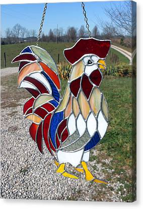 Carl Correll Canvas Print - Charlemagne A Stained Glass Rooster by Arlene  Wright-Correll
