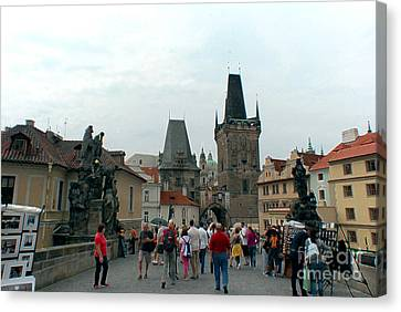Charles Bridge In Prague Canvas Print by Pravine Chester