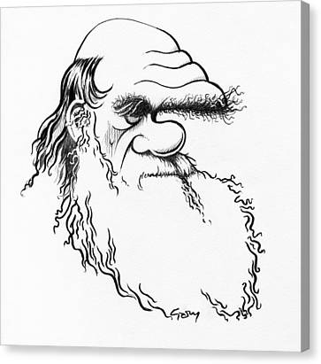 Charles Darwin, Caricature Canvas Print by Gary Brown