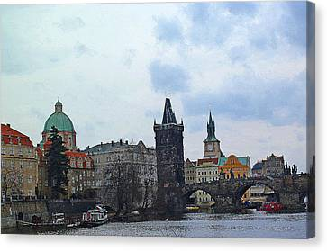 Charles Street Bridge And Old Town Prague Canvas Print by Paul Pobiak