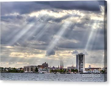 Charleston Maritime Center Sun Rays Canvas Print by Dustin K Ryan
