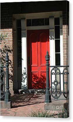 Charleston Red Door - Red White Black Door With Iron Gate Posts Canvas Print by Kathy Fornal