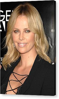 Charlize Theron At Arrivals Canvas Print by Everett