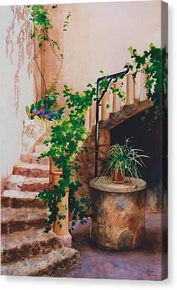 Charming California Courtyard Canvas Print by Eve Riser Roberts
