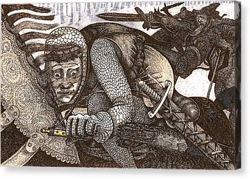 Canvas Print featuring the drawing Chased By Brigands by Al Goldfarb