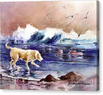 Golden Lab Canvas Print - Chasing The Sea Gulls Away by Michael David Sorensen
