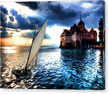 Chateau De Chillon On Lake Geneva Canvas Print
