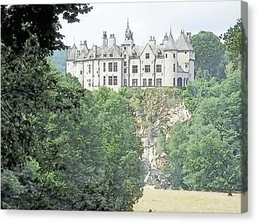 Canvas Print featuring the drawing Chateau De Walzin Belgium by Joseph Hendrix