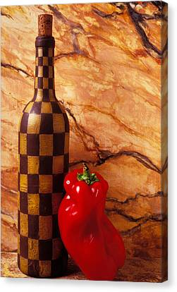 Checker Wine Bottle And Red Pepper Canvas Print