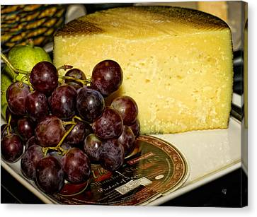 Cheese And Grapes Canvas Print by Barbara Middleton