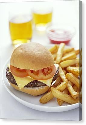 Cheeseburger And Chips Canvas Print by David Munns