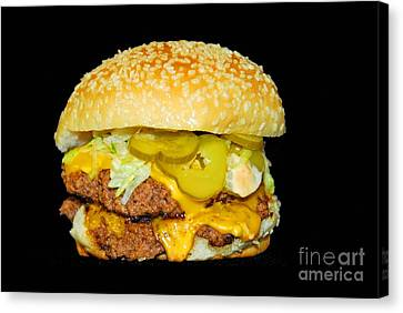 Canvas Print featuring the photograph Cheeseburger by Cindy Manero