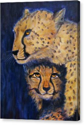 Cheetah Mother And Child Canvas Print