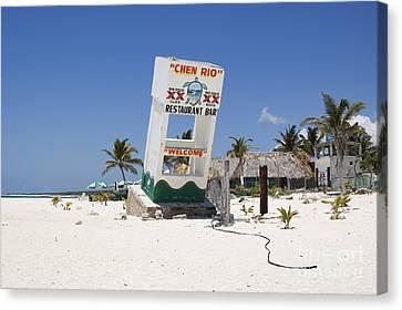 Canvas Print featuring the photograph Chen Rio Beach Bar Cozumel Mexico by Shawn O'Brien