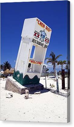 Canvas Print featuring the photograph Chen Rio Beach Bar Sign Cozumel Mexico by Shawn O'Brien