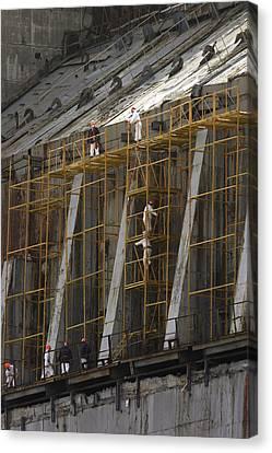 Chernobyl Sarcophagus Repairs, 2006 Canvas Print by Ria Novosti