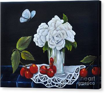 Canvas Print featuring the painting Cherries And Roses by Carol Sweetwood