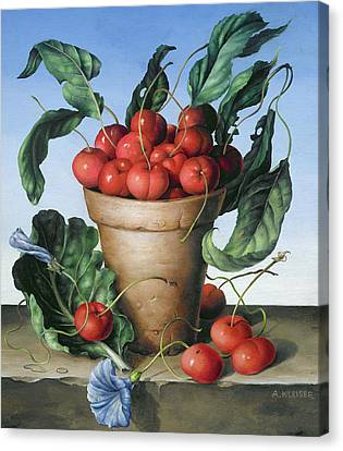 Cherries In Terracotta With Blue Flower Canvas Print by Amelia Kleiser