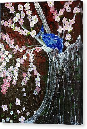 Cherry Blossom And Blue Bird  Canvas Print by Pretchill Smith