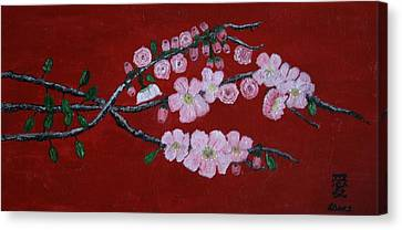 Cherry Blossom Trio Canvas Print by Lorraine Adams