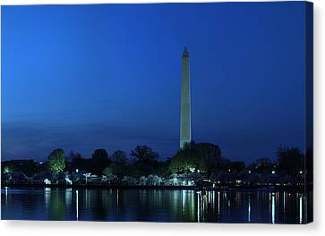 Cherry Blossoms Sunset At The Washington Monument Canvas Print by Metro DC Photography