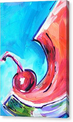 Cherry Gulp Canvas Print by Judy  Rogan