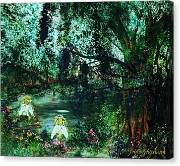 Canvas Print featuring the painting Cherub Lake by Joy Braverman