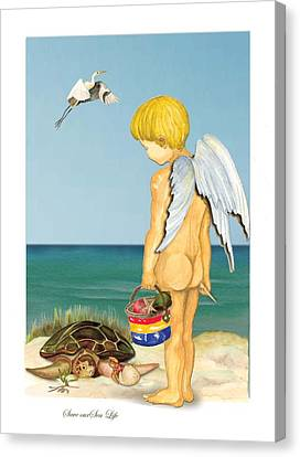 Canvas Print featuring the painting Cherub Saving Turtle by Anne Beverley-Stamps
