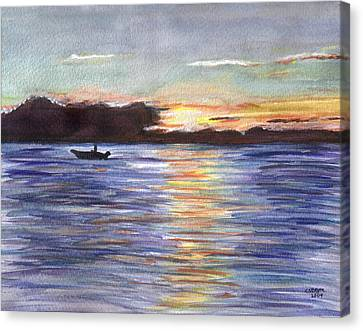 Canvas Print featuring the painting Chesapeake Dusk Boat Ride by Clara Sue Beym