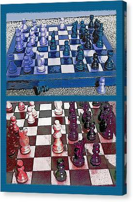 Chess Board - Game In Progress Diptych Canvas Print by Steve Ohlsen