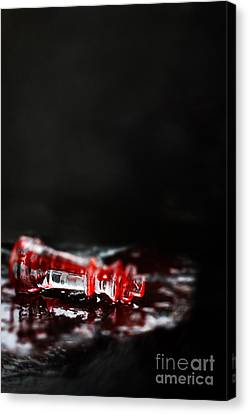 Chess Piece Lying In Blood Canvas Print by Stephanie Frey