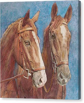 Canvas Print featuring the painting Chestnut Pals by Richard James Digance