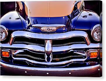 Chevrolet Pickup Truck Grille Emblem Canvas Print by Jill Reger
