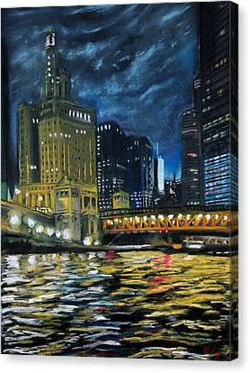 Chicago At Night Canvas Print by Peter Jackson