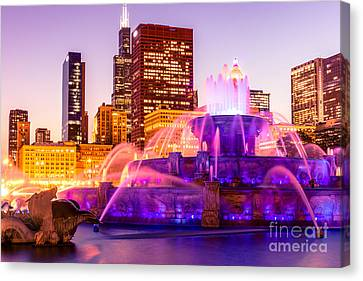 Chicago At Night With Buckingham Fountain Canvas Print by Paul Velgos