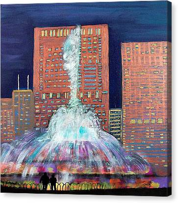 Chicago Buckingham Fountain At Night Canvas Print by Char Swift