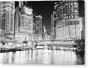 Chicago River Canvas Print - Chicago Cityscape At Night At Dusable Bridge by Paul Velgos