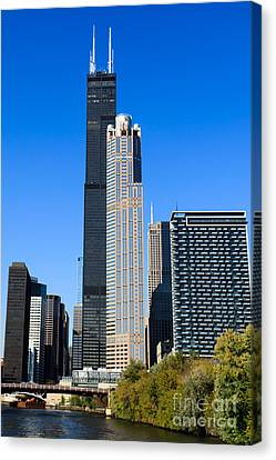 Chicago River Canvas Print - Chicago Cityscape With Sears-willis Tower by Paul Velgos